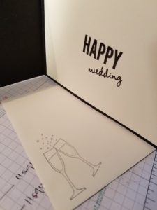 happy wedding embossed in black